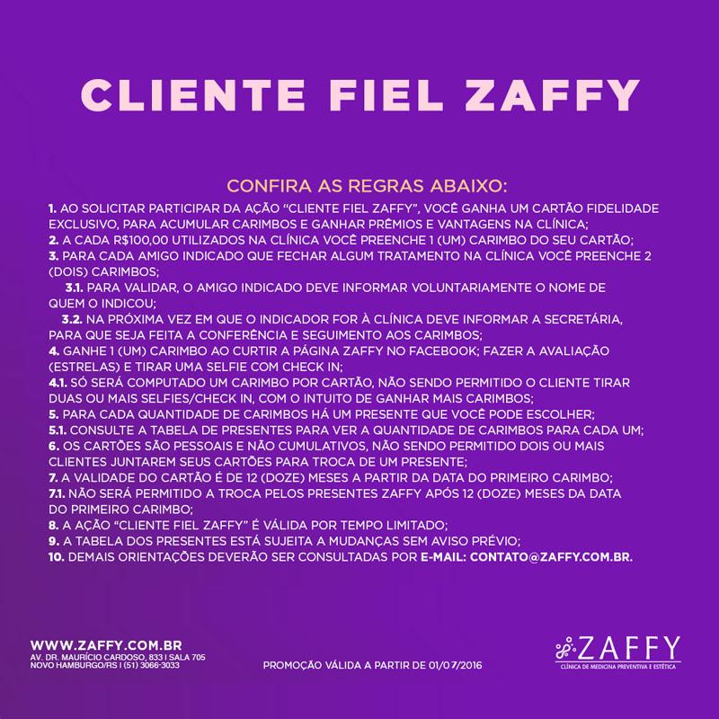 Cartão fidelidade: Cliente Fiel Zaffy